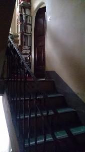 石造りと思しき急な階段には、蔦のようなデザインを施した金属製の手すりが付けられていた